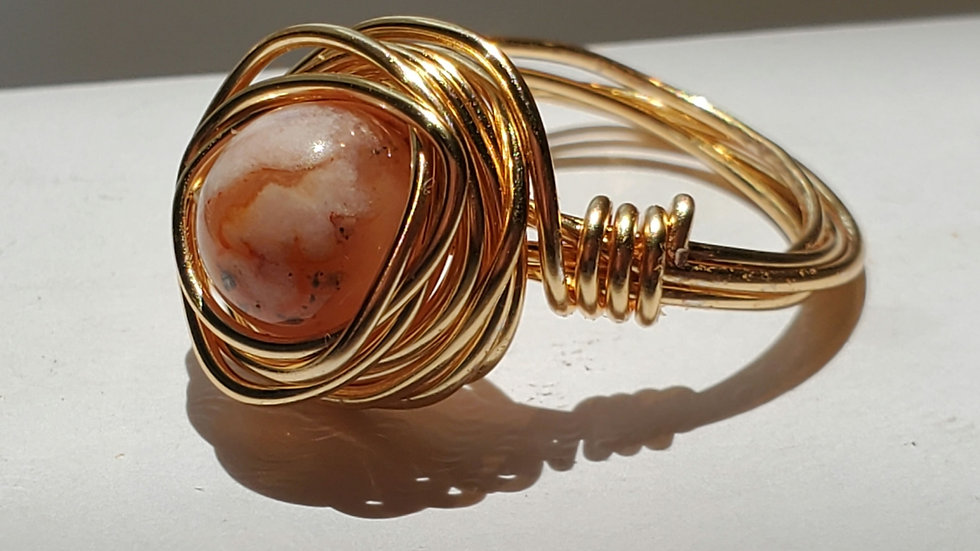 Flower Agate Gold Wire Wrapped Rings