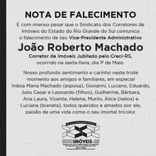 Nota de Falecimento - Vice-Presidente Administrativo João Roberto Machado