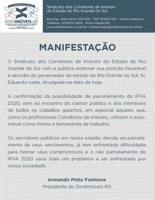 Manifestação do Sindimóveis-RS sobre o parcelamento do IPVA 2020