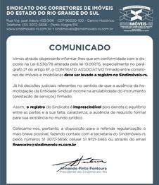 COMUNICADO SINDIMÓVEIS-RS