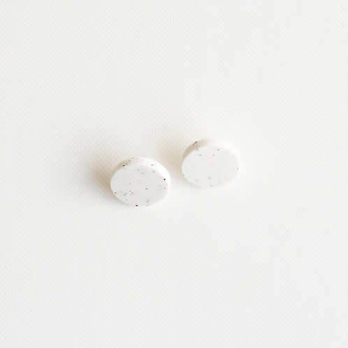 Small circle white porcelain earrings