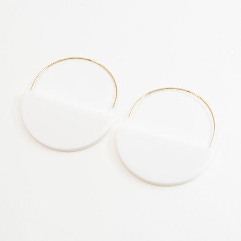 Gonchar Semi-circle minimalistic earrings with white porcelain