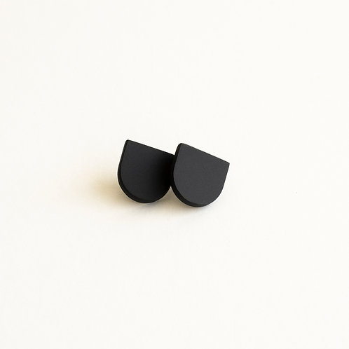 Small semioval black porcelain earrings