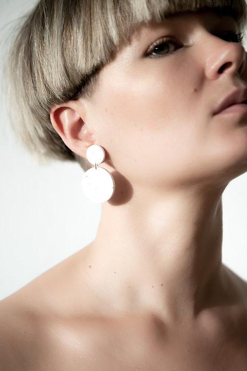 Gonchar Connected circle white porcelain earrings