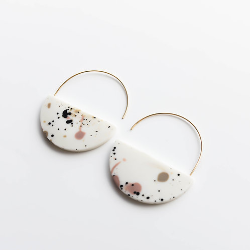 Gonchar Semi-circle minimalistic earrings with porcelain splash