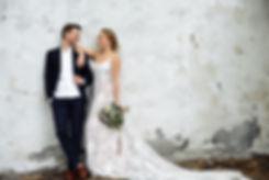 Luxury newlywed couple on the background