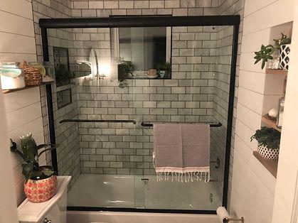 frameless sliding shower, maryland shower doors, glass enclosure,black hardware shower, century shower doors, clear glass, rustic bathroom, pintrest bathroom, 3/8 glass, half inch glass, black shower, bathtub