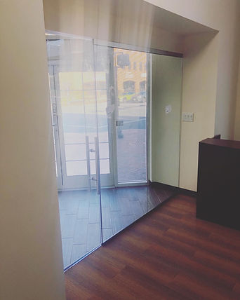 """1/2"""" glass doors, ladder pull glass handle, office glass, maryland glass company"""
