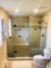 frameless shower doors, shower doors, shower doors maryland, custom glass showers, Matt black shower door