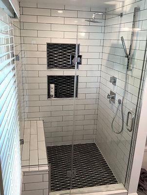 """Frameless glass, 1/2"""" shower door, Notch panel shower, Maryland shower door, frederick MD shower door, DC shower doors"""