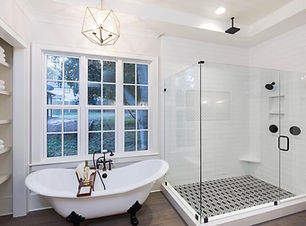 Frameless shower doors, Glass showers, Virginia glass, Glass enclosures, tub glass door, black shower door