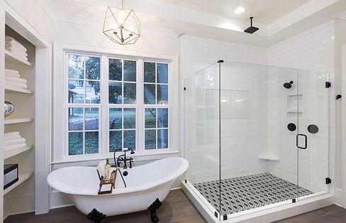 Shower enclosures, Bathtub, Frameless shower, half inch glass, glass door, shower door, matte black shower, matte black hardware, custom shower