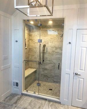 """Frameless shower enclosure, Shower door company, Shower door company near me, Steam shower, glass steam shower, half inch glass, 1/2"""" glass, 310 tempering, enduro sheild, chrome bathroom, Chrome glass shower, Clips shower, SCU4, CRL"""