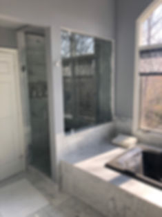 "shower door company, glass frameless, clip shower, chrome shower, 1/2"" glass, 6 inch handle"