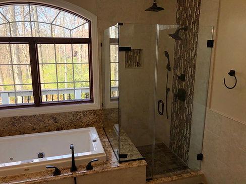 Baltimore shower doors, Rockville showers, Euroglass, Oil rubbed bronze shower, Barndoor shower, Glass shower, Frameless shower, annapolis showers, widnow repair, Tile repair, Glass doors