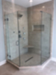 """Shower door, Frameless, framless shower, 1/2"""" glass, 3/8"""" glass, brushed nickel hardware"""