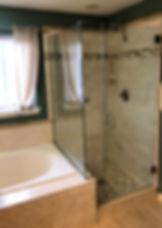 """Frameless shower, Brushed nickle shower, bathroom tile, 28"""" shower door"""