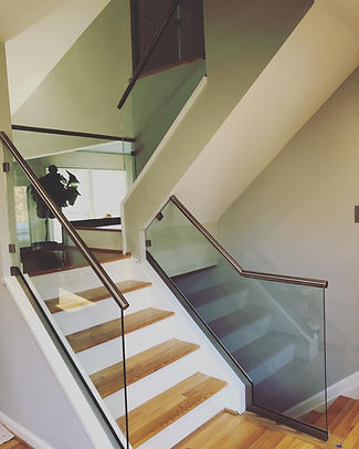 "Glass railing, railing glass, Custom glass railing work, Frameless shower enclosure, Shower door company, Shower door company near me, Steam shower, glass steam shower, half inch glass, 1/2"" glass, 310 tempering, enduro sheild, brushed nickle shower"