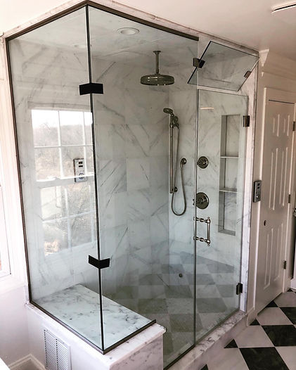 shower doors in maryland, frameless glass, custom shower glass, DC shower door company, Baltimore shower door company, maryland glass company, custom mirrors near me, shower glass near me, frederick shower door company, eastcoast shower glass, total glass and mirror, belpreglass, polished nickel hardware, steam shower, glass steam shower with transom