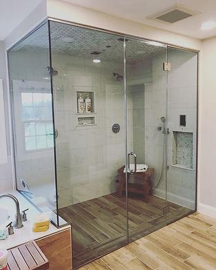 """Frameless shower enclosure, Shower door company, Shower door company near me, Steam shower, glass steam shower, half inch glass, 1/2"""" glass, 310 tempering, enduro sheild, brushed nickle shower"""