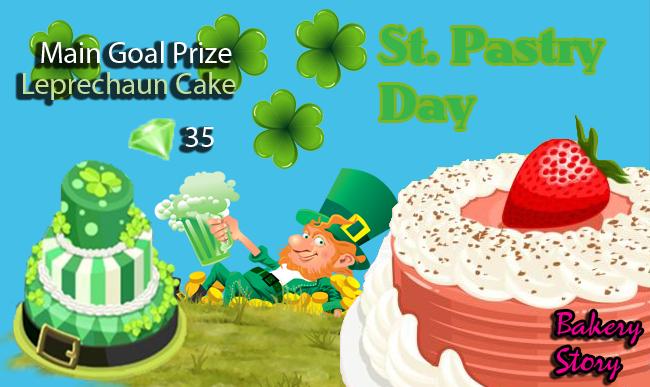 bakery story st. pastry day main goal prize leprechaun cake