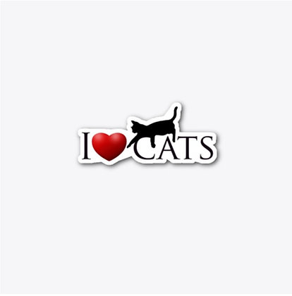 I Love Cats - Die Cut Sticker