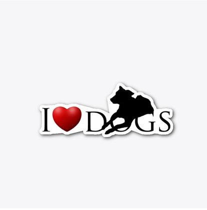 I Love Dogs - Die Cut Sticker