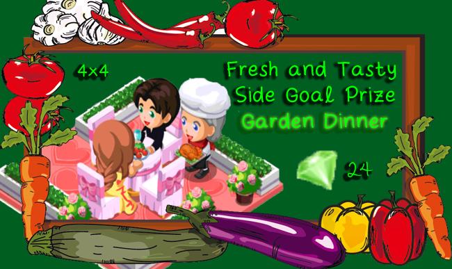 Restaurant Story Lean and Green side goal prize garden dinner