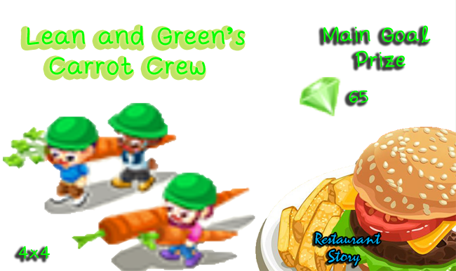 Restaurant Story Lean and Green main goal prize carrot crew