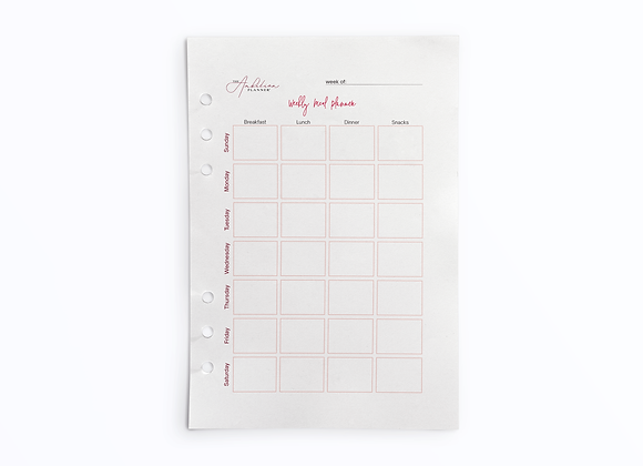 Weekly Meal Planner - Sunday Start | A5 Insert
