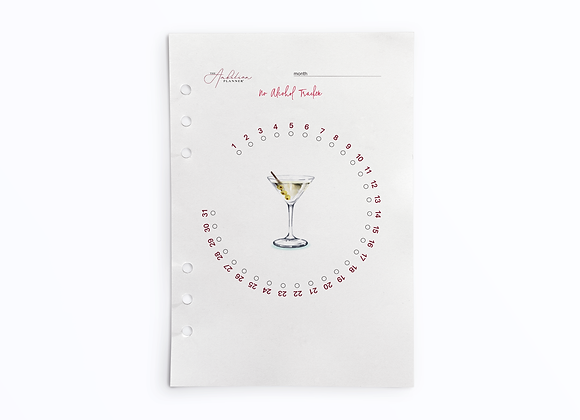 No Alcohol Tracker | A5 Insert