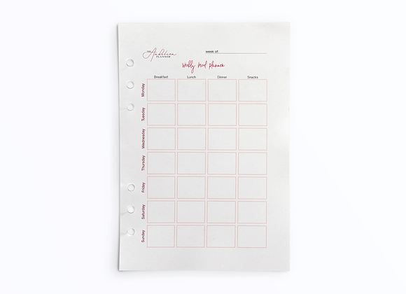 Weekly Meal Planner - Monday Start | A5 Insert