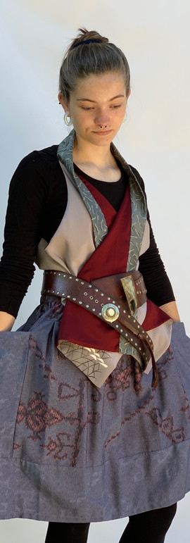 Reversible Vest / Scarf & Kimono Fabric Skirt