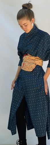 Open Sides Silk Coat with Reversible Obi Belt