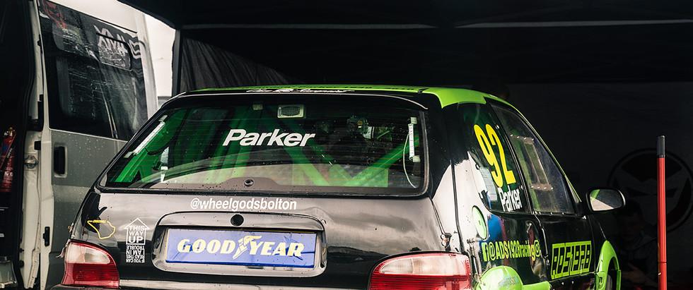 Citroen Saxo 92 Adam Parker in paddock rear three quarter poster.jpg