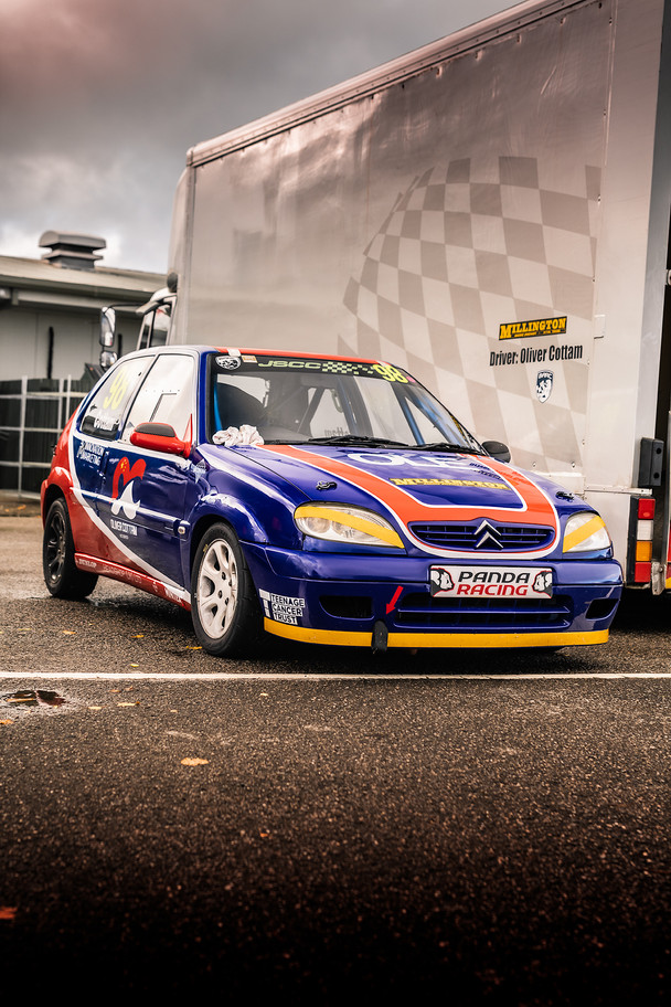 Citroen Saxo Blue and Red front three qu