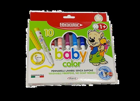 סט 12 טושים צבעוניים לגיל הרך  Fibracolor