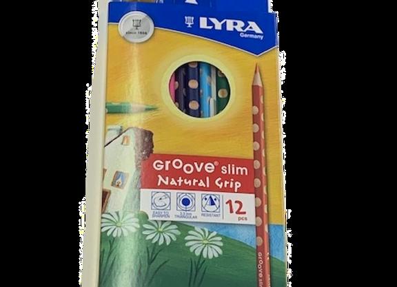 סט 12 עפרונות גרוב דקים צבעוניים LYRA