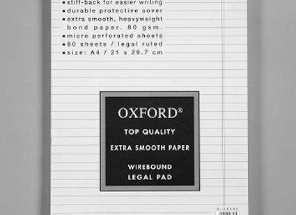 בלוק כתיבה לבן ספירל אוקספורד A4 שורה