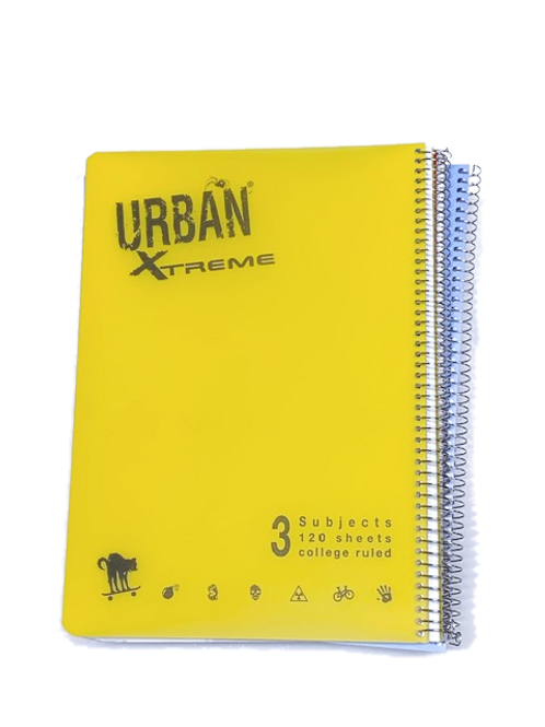 מחברת ספירל A4 אורבן 3 נושאים שורה URBAN