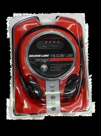 אוזניות ומיקרופון H/SET HS-008 USB מבית Silver Line