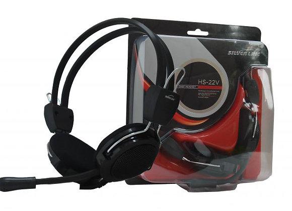 אוזניות + מיקרופון עם ווליום לשליטת עוצמה HS-22V SL בצבע שחור
