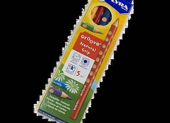 סט 5 עפרונות גרוב עבים צבעוניים LYRA
