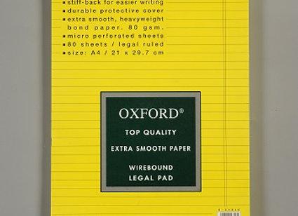 בלוק כתיבה צהוב ספירל אוקספורד A4 שורה