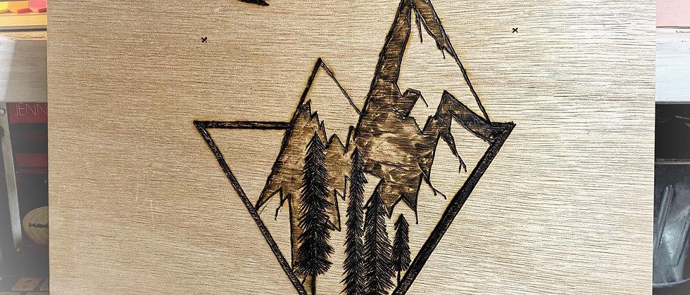 "Wood Burned Mountains 12""x12"""