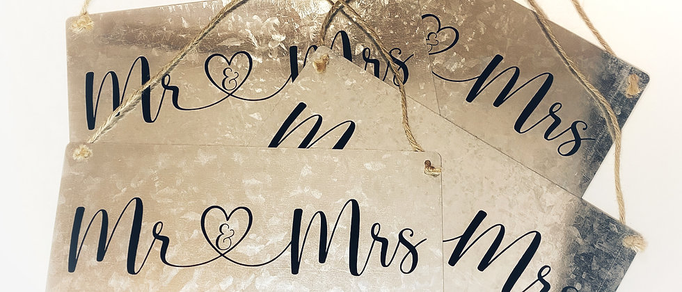MR & MRS Galvanized Metal Sign