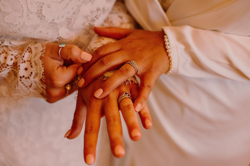 two women showing off their new wedding rings