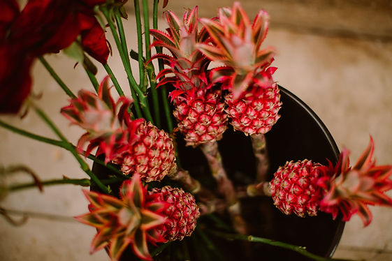 pink pineapples form a colourful bouquet
