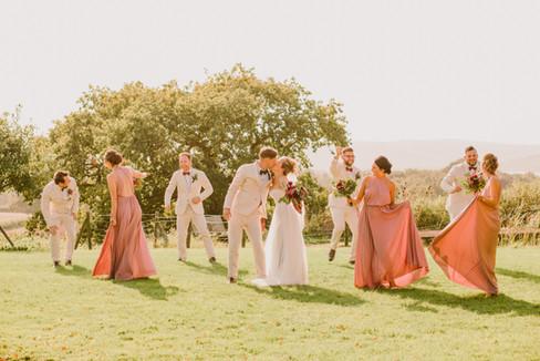 Wedding Party dancing at Folly Farm, Bristol