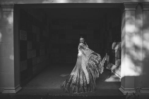 Bride dances in bespoke handmade dress in Arnos Vale, Bristol